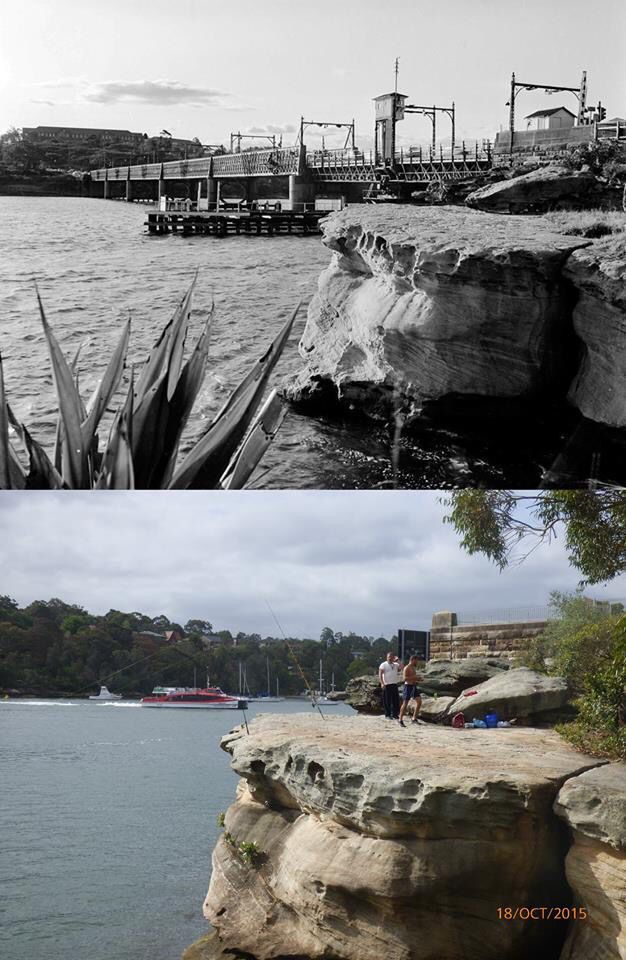 """A view across the two remaining five """"docks"""" of Five Dock Point, Drummoyne in 1964 and 2015. [Roads & Maritime>Terry Hulme. By Terry Hulme]"""