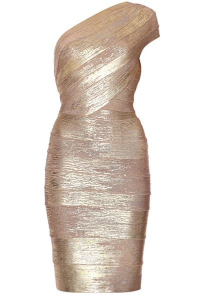 Gold One Shoulder Body Conscious Bandage Dress