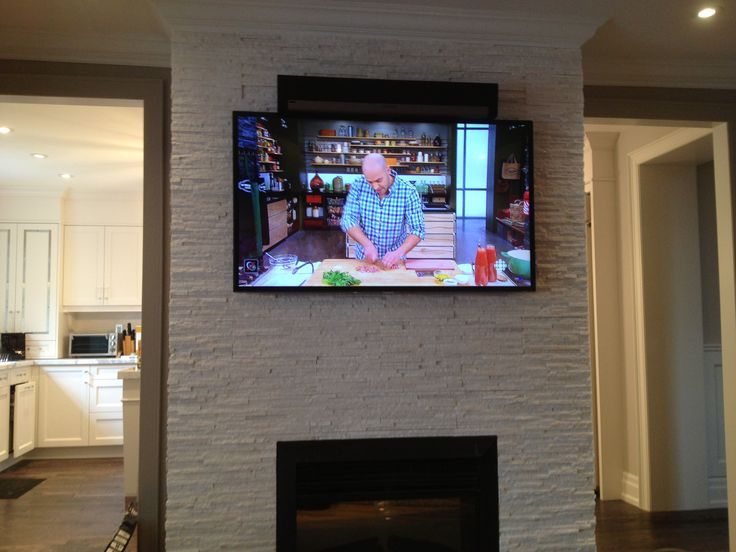Sonos Sound Bar Installed Above The LED TV Using Sound Bar Brackets Over  Gas Fireplace.