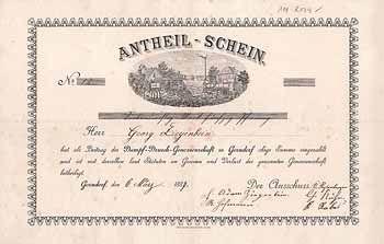 Dampf-Drusch-Genossenschaft Antheilschein 37,50 M 6.3.1887 (R 12).
