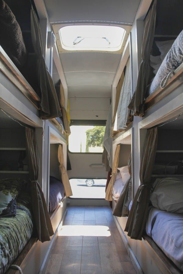 Eight college friends convert a school bus into a RV tiny house.
