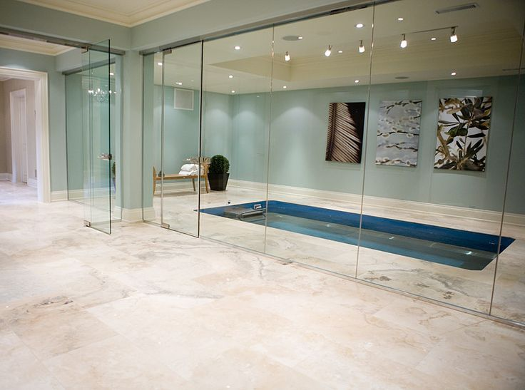Travertine Tile Basement With Indoor Pool In 2019 Small