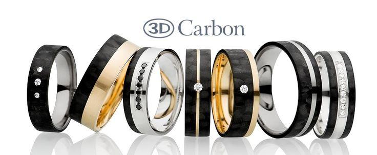 Kiehtova kokoelma hiilikuitusormuksia. Saatavana yhdistettynä kultaan, hopeaan tai titaaniin. Huipputyylikäs timanttien kera.