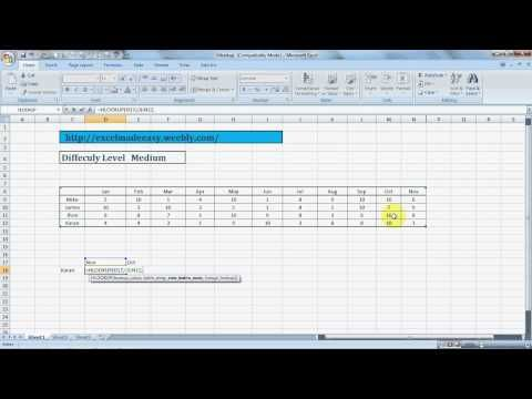 Excel 2000 hlookup