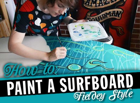 How to paint a surfboard by Fieldey. Perfect craft project for the surfer guest room in progress!