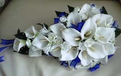royal blue wedding bouquet   ... BOUQUET PACKAGE MADE WITH REAL TOUCH FOAM CALA LILLIES AND ROYAL BLUE