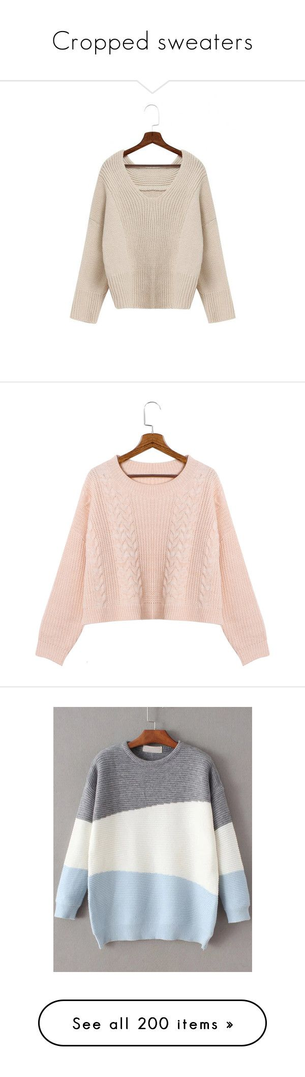 """""""Cropped sweaters"""" by stellacolor21 ❤ liked on Polyvore featuring tops, sweaters, beige, batwing sleeve sweater, v neck jumper, v neck knit sweater, beige knit sweater, pink jumper, yoins and pink"""