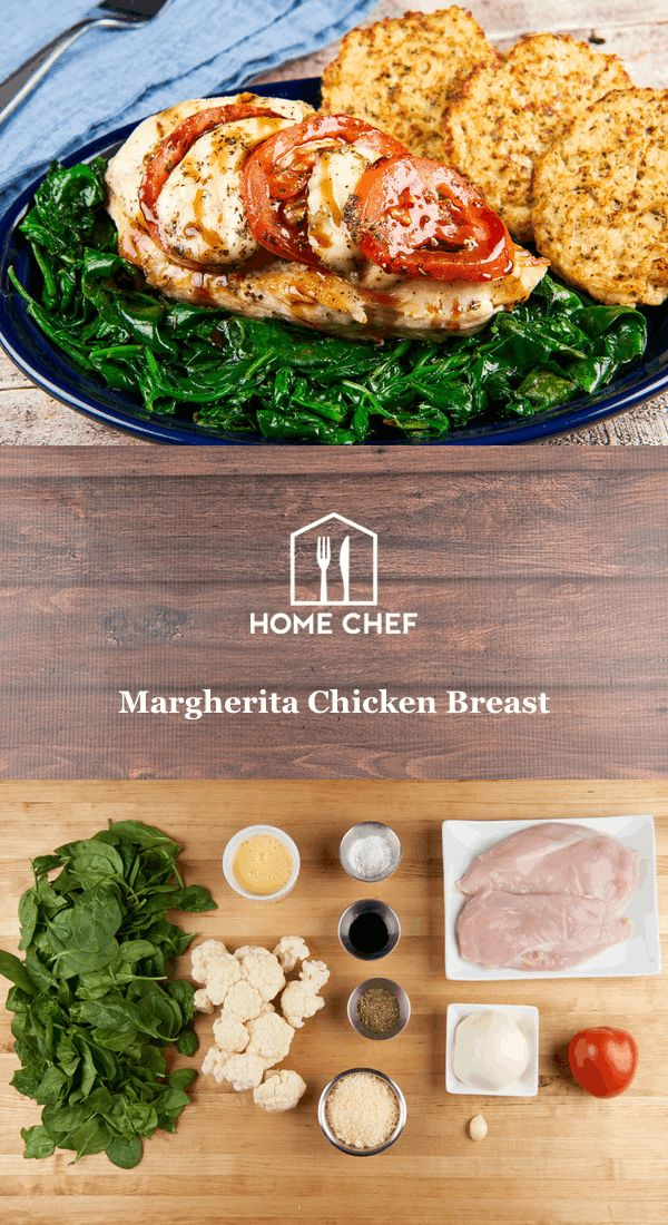 """Juicy roasted chicken breast is topped """"Margherita"""" style with fresh mozzarella, tomatoes, and Italian herbs. Unbelievably delicious cauliflower fritters and sautéed spinach round out this culinary treat."""