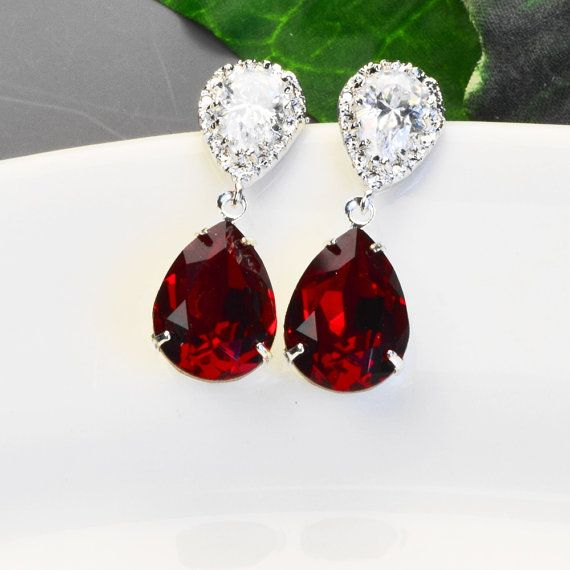 WOW!!  These are gorgeous.  Sparkling red swarovski crystal teardrop earrings.  The clear cubic zirsonia earrings have sterling silver ear posts. Red Crystal Teardrop Earrings  Swarovski by MyDistinctDesigns #bridesmaidearrings #bridesmaidjewelry