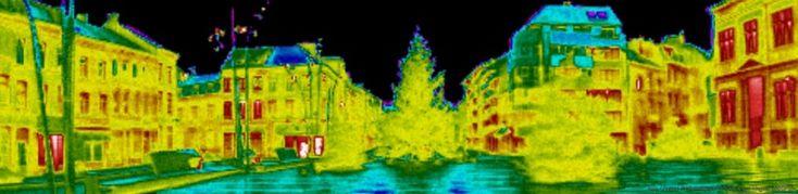 Thermographie urbaine de la place communale de La Louvière, Belgique - Thermal view in infrared thermography of Community's Place, La Louvière, Belgium  http://www.imagerie-centre.be