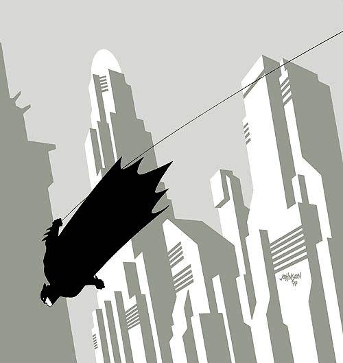 Beautiful, minimalist, Deco Batman by Dave Johnson