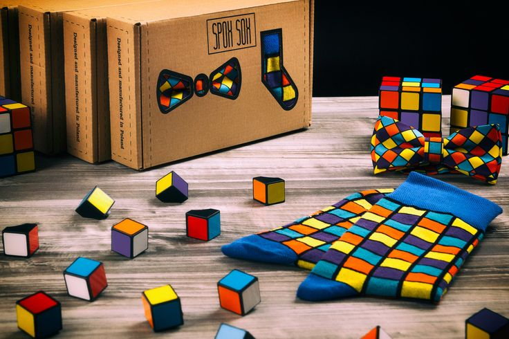 40.00$ - Matching socks and bow tie - set in the box- Rubik's cube | cool combo - crazy colorful socks and a designer pre-tied bow tie | gift idea