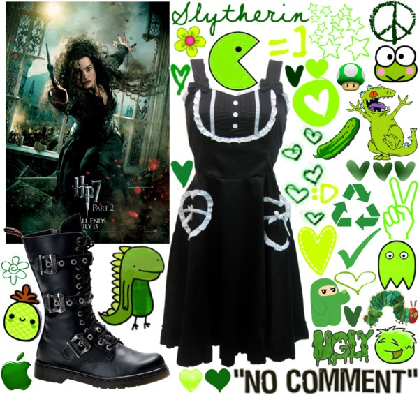 """""""Green cartoon outfit :P"""" by alltimeinsane-slytherinmybedplzz ❤ liked on Polyvore"""