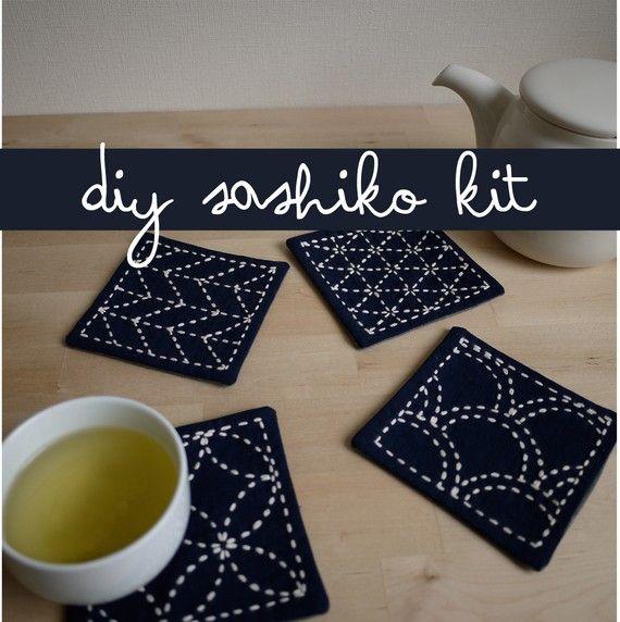 DIY Kit Sashiko Embroidery: Genki Coasters (Set of 4) w/ gray polka dot backing. $25.00, via Etsy.