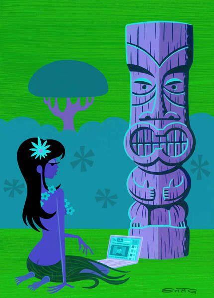 Shag: Wahine - Tiki Hawaiian Art