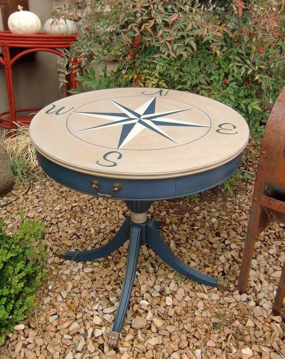 Vintage Drum Table with Java Gel Stain Top by JensFurnitureRehab
