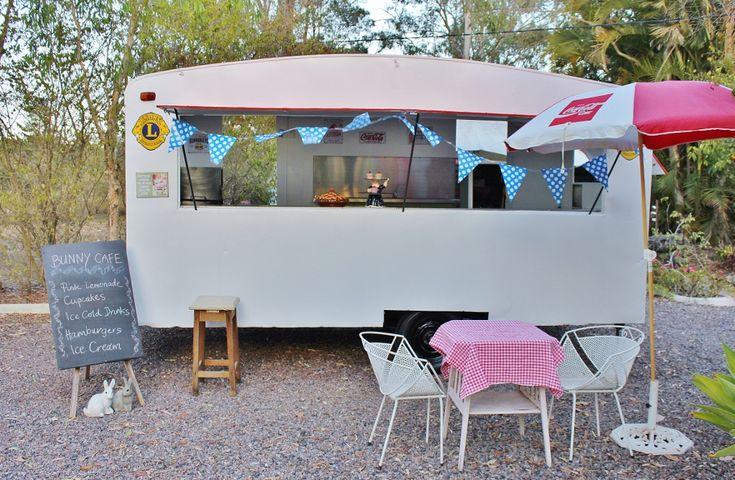Red and White Mobile Food Caravan Catering Coffee Cupcakes Ice Cream Hamburger Van Market Trailer on Ebay.