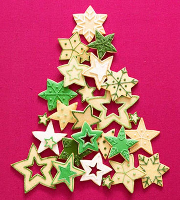 Ster kerst koekjes in de vorm van een kerstboom