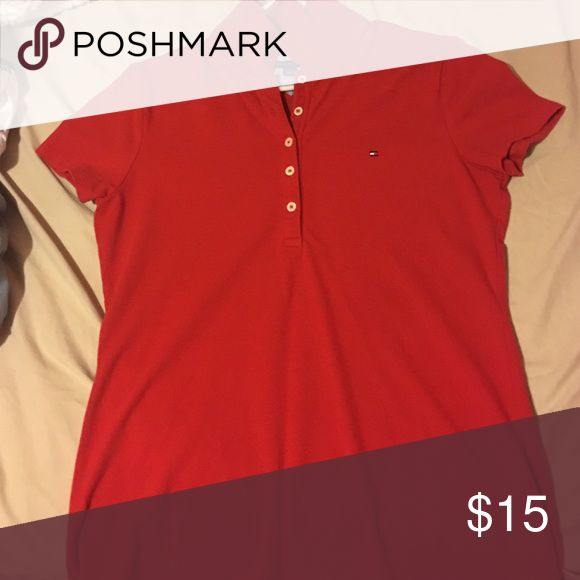 Tommy Hilfiger polo for junior females A red Tommy polo slightly tight fit for juniors. Worn once Tommy Hilfiger Tops Button Down Shirts