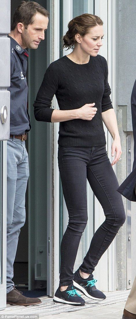 Kate wearing a Ralph Lauren sweater and Adidas running shoes