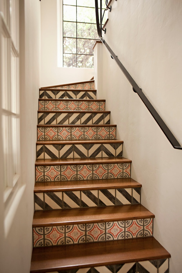 Tile risers on a staircase in a Mediterranean home in Brentwood, CA designed by Tim Barber Architecture & Interior Design