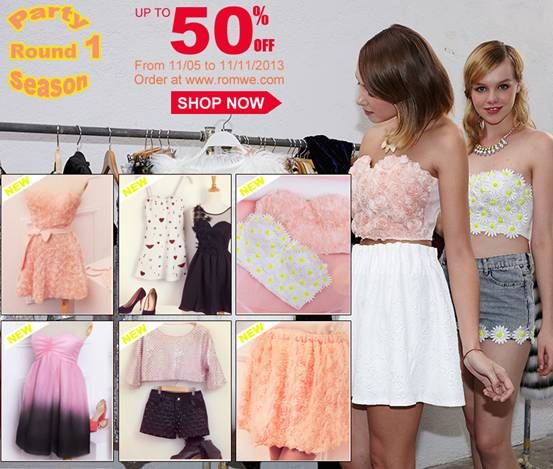 Romwe Party Season Sale! Up to 50% off! Valid dates: Nov5 to Nov11 Don't miss, girls! Go: http://www.romwe.com/Party-Season-Round-1-c-332.html?chen
