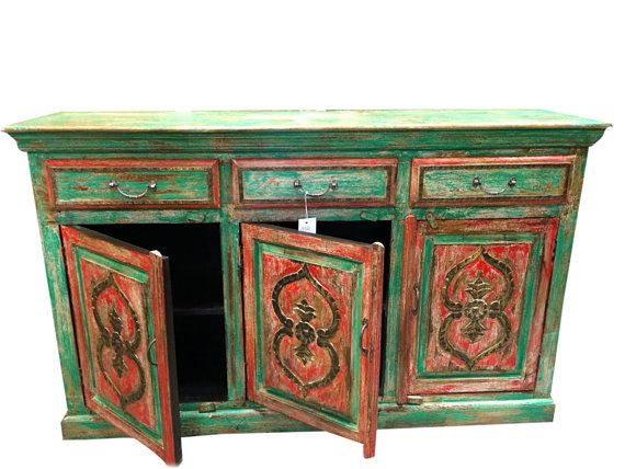 Antique Manjush Chest red green patina brass Vintage Sideboard Tv Stand Buffet  Shabby Chic Furniture