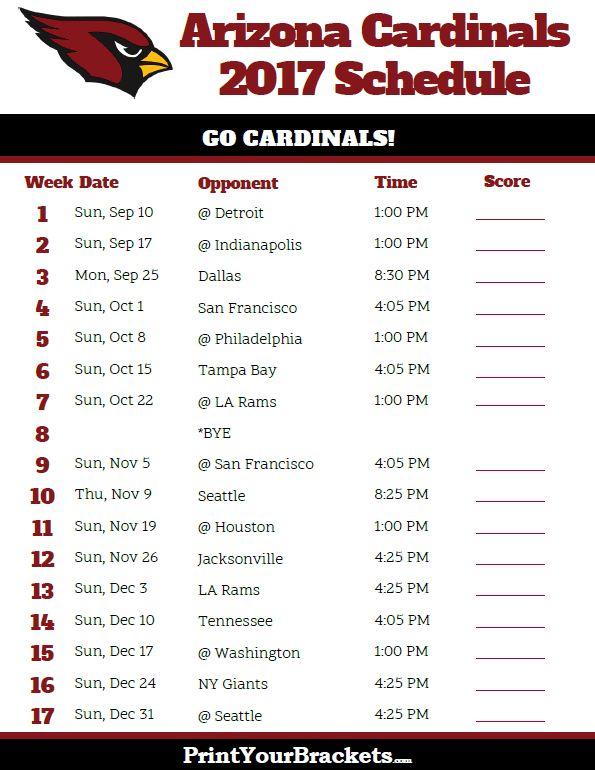 2017 Arizona Cardinals Football Schedule