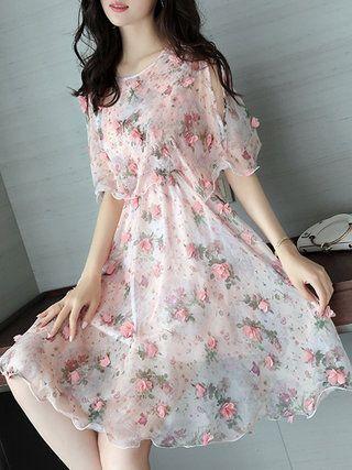 Pink Floral Girly Appliqued Half Sleeve Crew Neck Dress 2
