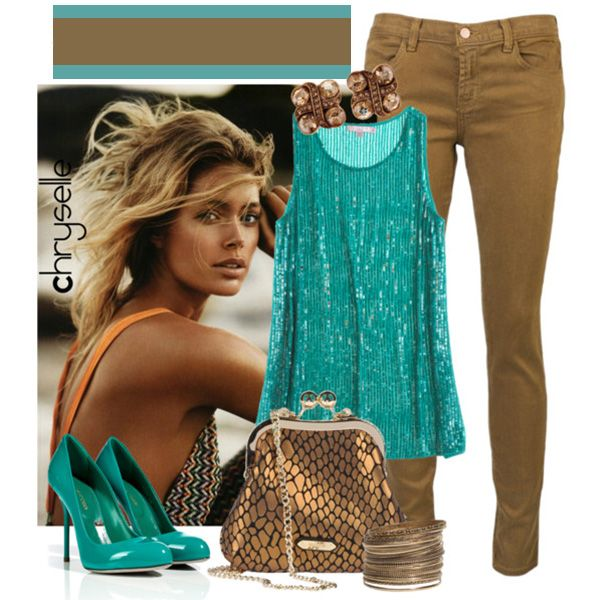 Туфли цвета морской волны, джинсы песочного цвета, бирюзовая туника, блестящая сумка бронзового цвета