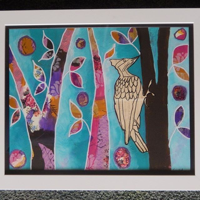 Newly framed ! So pleased with the #frame for my 'Woodpecker Music'. These Music in the World pieces are inspired by the vulnerability of the #wildlife on the #planet and thinking about how they fit into our culture and what a loss it would be not to have them.  #homedecor #intuitive_art #colourful #animallovers #naturelovers #birdlovers #eye_spy_birds