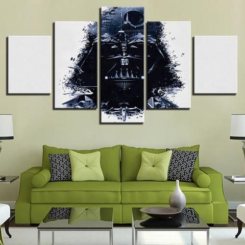 5 Pieces Black White Star Wars Wall Art