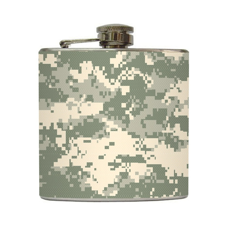 Military ACU Camo Whiskey Flask Army Combat Uniform Camouflage Guys Groomsmen Gift Stainless Steel 8 oz or 6 oz Liquor Hip Flask
