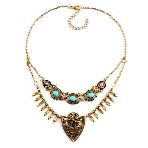 Multilayer Vintage Metal and Turquoise Pendant Choker Necklace www.zapppedjewelry.com