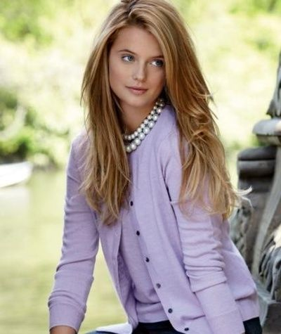 Classic-lavender twin set and pearls...so pretty on the right person, but makes me feel prissy.