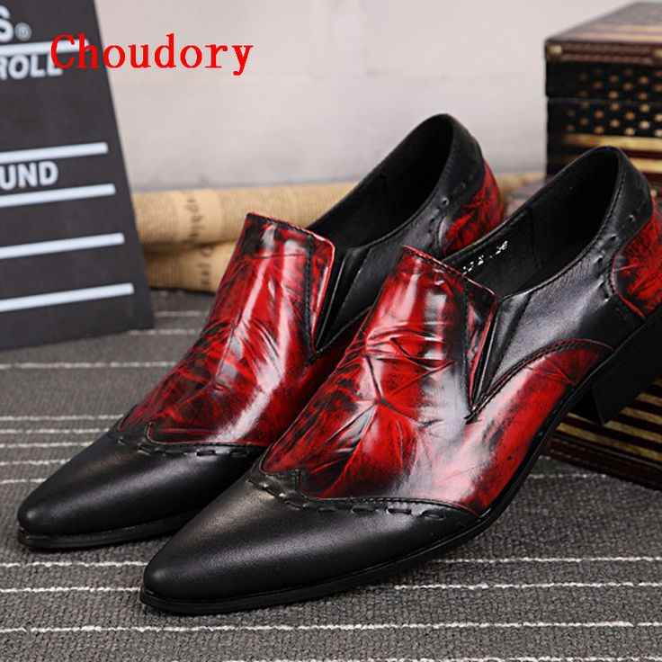 Choudory New Black Red Genuine Leather Oxford Flats For Men Spring Shoes Pointed Toe Men's Fashion Loafers