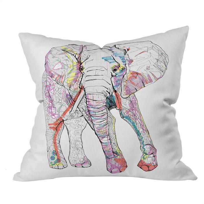 Casey Rogers Elephant Pillow #drawing #illustration #elephant