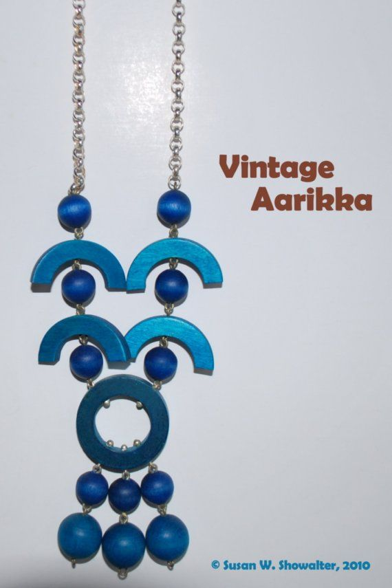 Vintage Finnish blue wood bead necklace by Aarikka @Peace Dove Jewelry