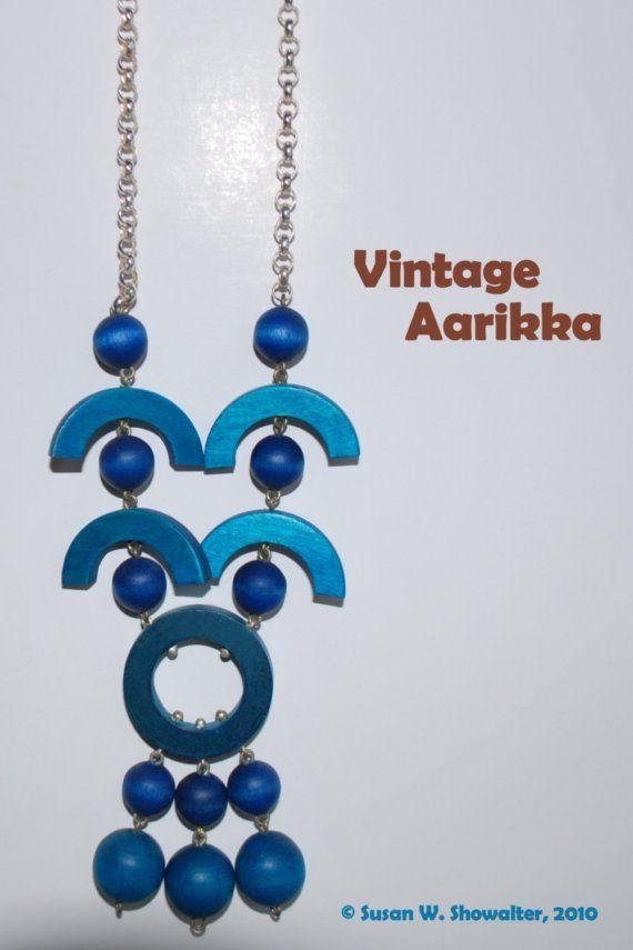 Vintage Finnish blue wood bead necklace by Aarikka @Peace Dove Jewelry