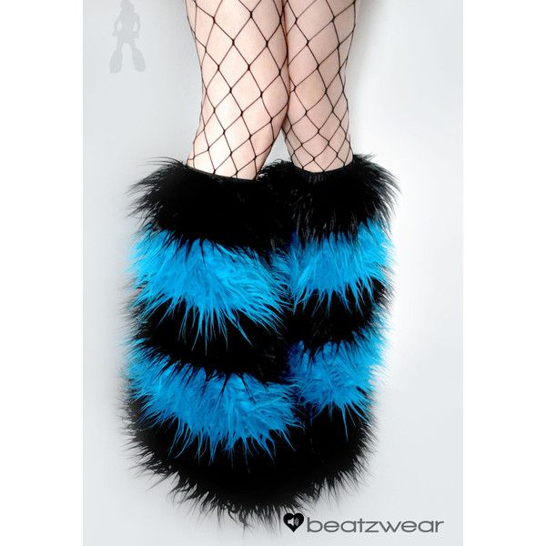 CUSTOM 4 STRIPE furry legwarmers rave fluffies bootcovers fuzzy boots... ($48) ❤ liked on Polyvore featuring accessories, shoes and rave