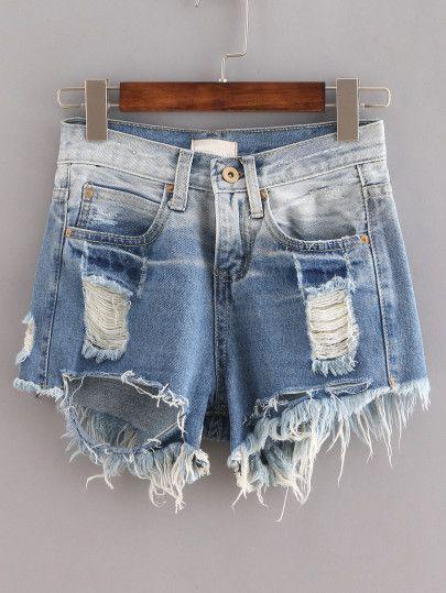 Pantaloncini Di Jeans Orlati Strappati - Blu