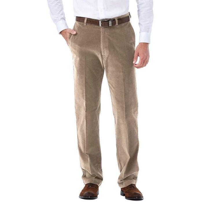 Men's Haggar Classic-Fit Stretch Expandable Waistband Corduroy Pants, Size: 34X32, Dark Beige