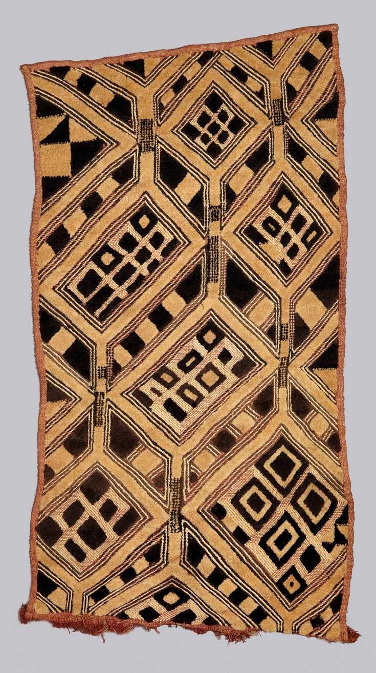 Africa   Design panel ~ bwiin ~ from the Kuba people of DR Congo   Raffia palm fiber, Pterocarpus redwood (tukula or camwood) dye