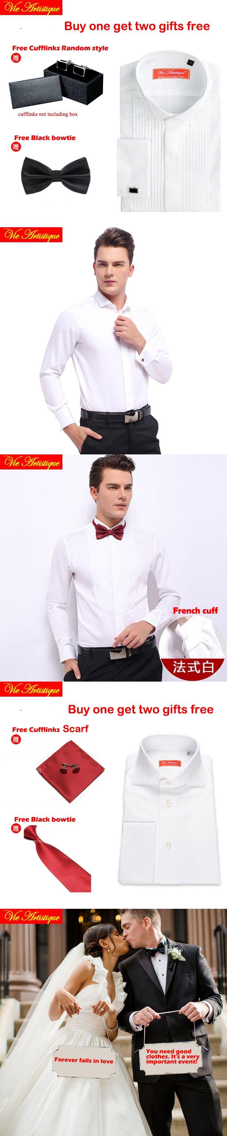 men wedding shirts long sleeve male slim fit tuxedo french cuff dress cotton shirt 6789 XL tailor made white black pink wine 18