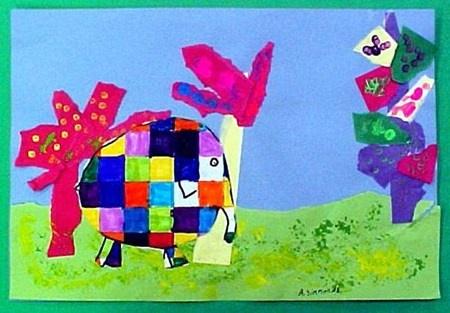Elmer by Abby, grade 1 (Art Teacher Donna Staten)