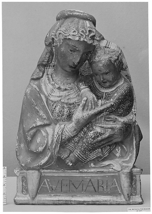 Madonna and Child After a composition sometimes attributed to Lorenzo Ghiberti (Italian, Florence 1378–1455 Florence) 15th century, Italian (Florence) (?). Stucco, painted and gilded. H. 28 in. (71.1 cm.)