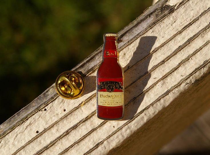 Budweiser Bud Beer Bottle Gold Tone Metal & Enamel Lapel Pin Pinback Official  | eBay