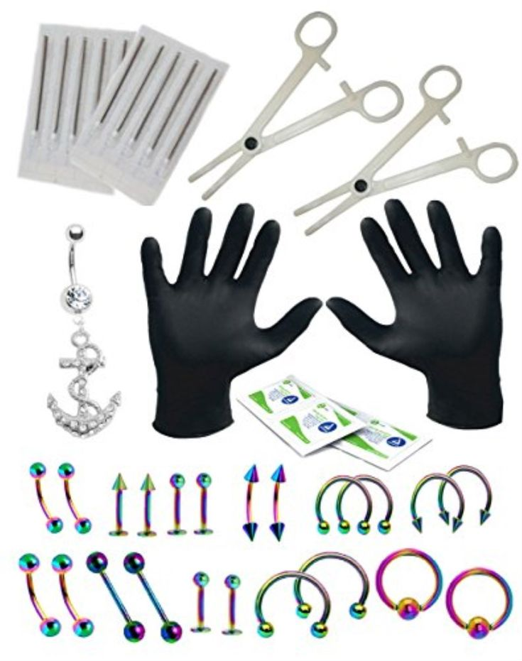 BodyJ4You Body Piercing Kit 16G 14G Belly Rings Rainbow Tongue Tragus 36 Pieces
