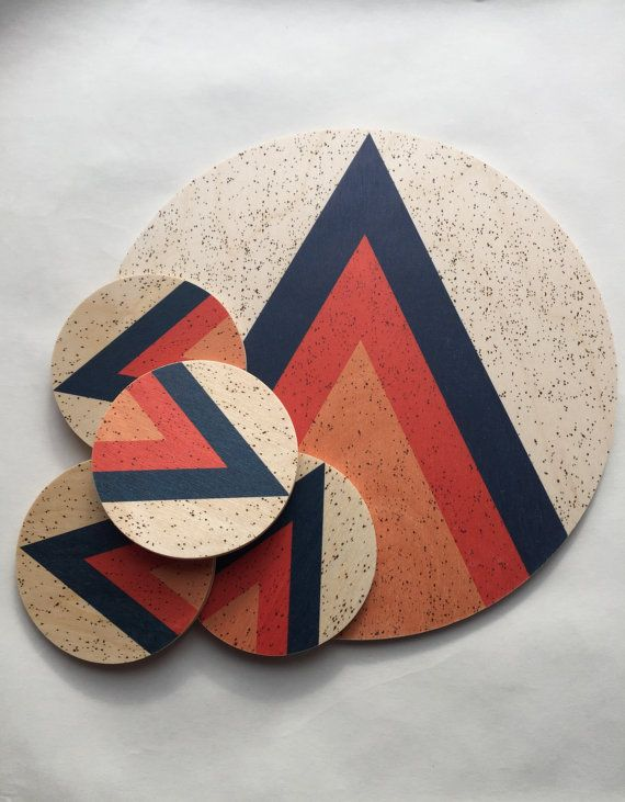 Our ARROWHEAD traingle design in blue, red-orange and vintage orange with an all-over speckle print is a fun take on Scandinavian Modern style. We love this design for its fun nod to the mid century style while it manages to feel totally fresh and current. Thoughtfully designed to be super functional; Our coasters can take the heat of very hot beverages or the condensation from cold drinks. Protecting your furniture more than many coaster concepts. SET OF 4 Coasters 4 diameter| 0.25 thick…