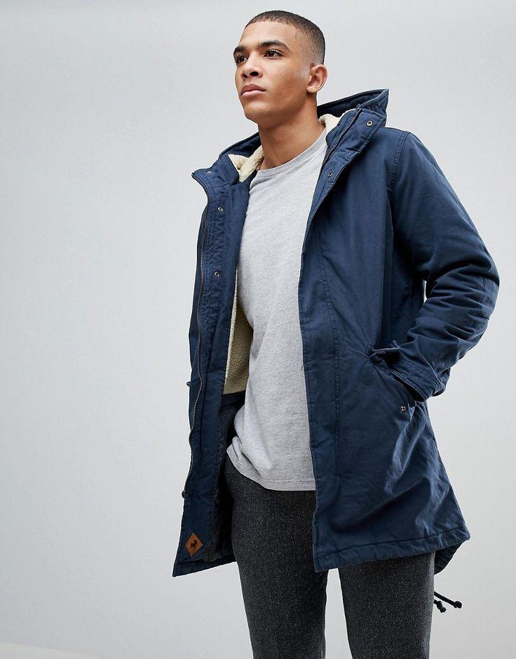Blue borg lined parka jacket